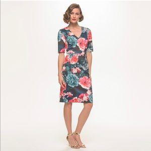 Eliza J Floral Elbow Sleeve  Scuba Sheath Dress